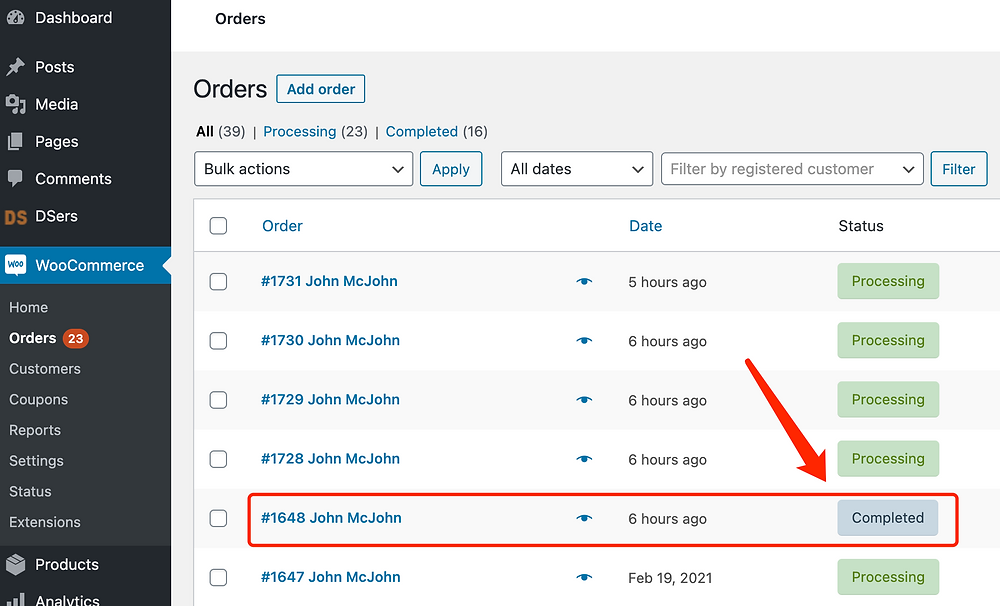 Fulfill orders manually on WooCommerce with Woo DSers - Order marked as Completed - Woo DSers