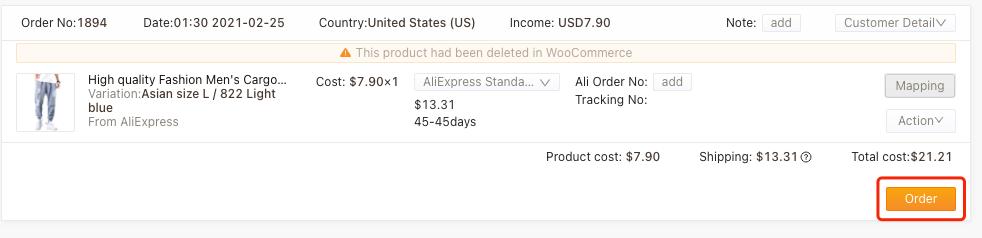 Refazer um pedido com produto excluído com Woo DSers - 7 - Woo DSers