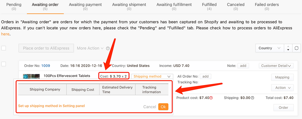 Why can't I select a shipping method - Quantity Issue Example - DSers