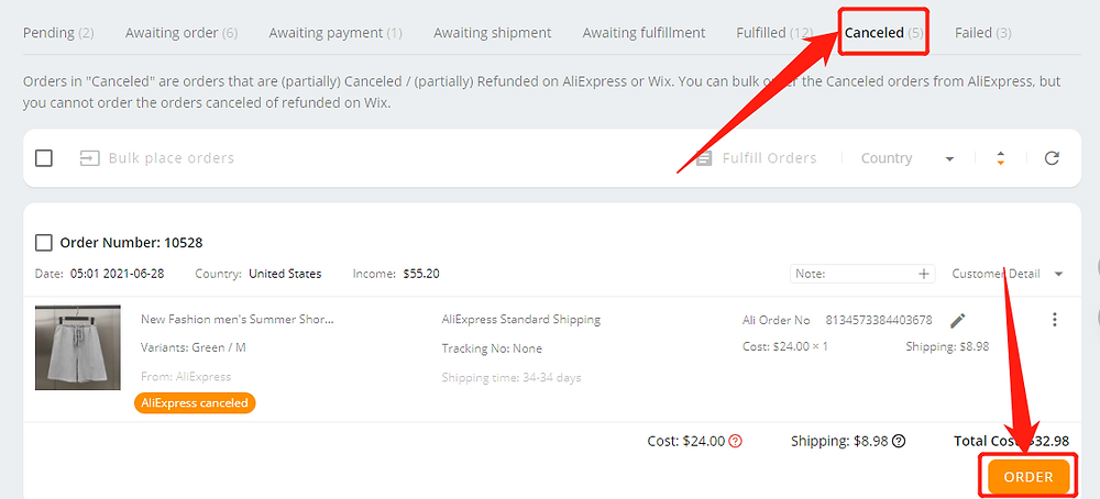 Re-order AliExpress canceled orders with Wix DSers - click order - Wix DSers