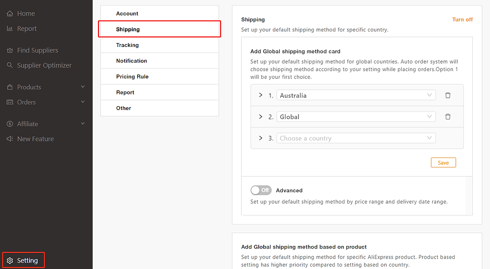 AliExpress Shipping Methods Changes - Setting - DSers
