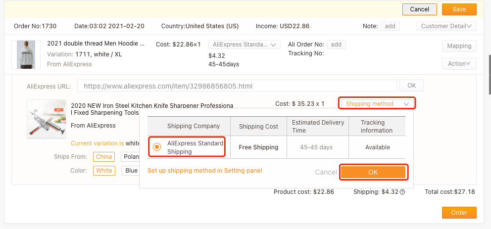 Edit an order with Woo DSers - Select Shipping method - Woo DSers