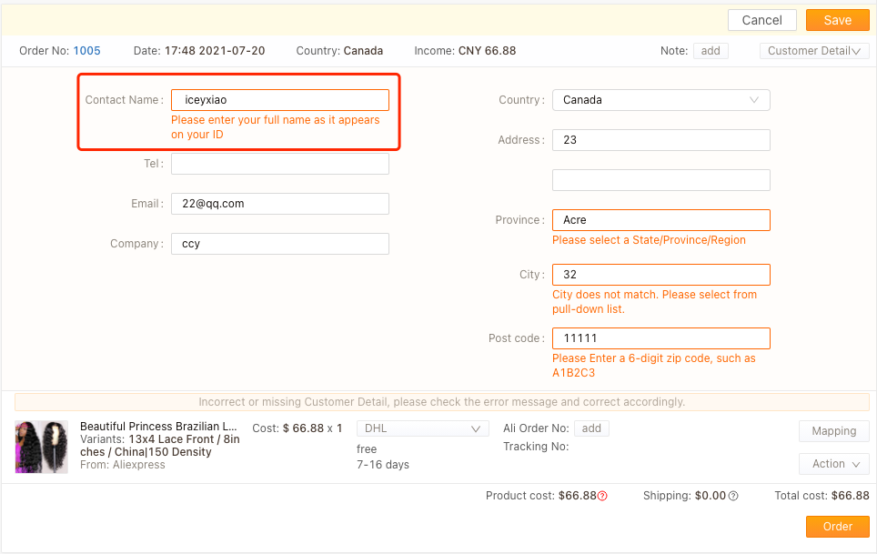 Orders to Canada specifications with Shopify DSers - wrong name - Shopify DSers