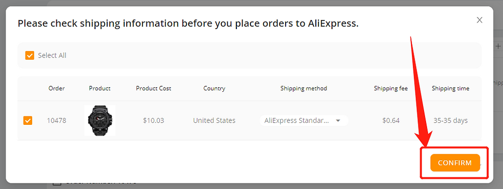 Place an order from WIX to AliExpress - confirm - Wix DSers