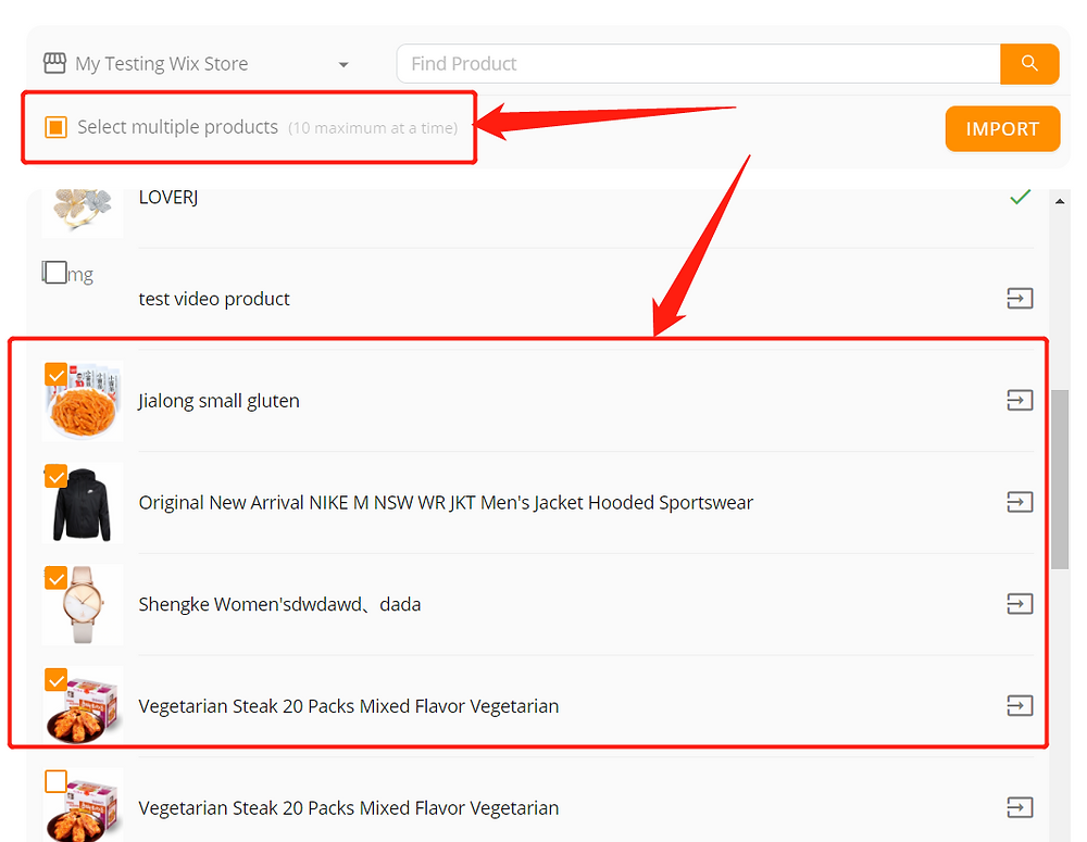 Import products from your Wix store with Wix DSers - select multiple products - Wix DSers
