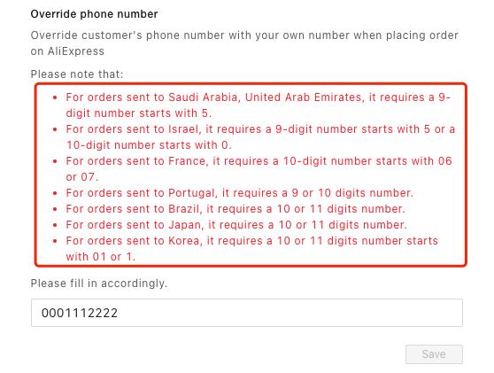 Substituir número de telefone do cliente com Woo DSers - 4 - Woo DSers
