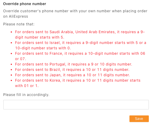 Customer phone number override with Woo DSers - Override phone number - Woo DSers