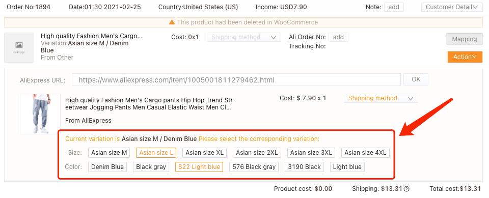 Refazer um pedido com produto excluído com Woo DSers - 4 - Woo DSers