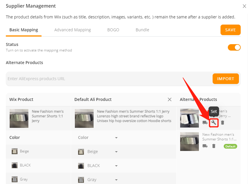 Change supplier of a product with Wix DSers - click set - Wix DSers
