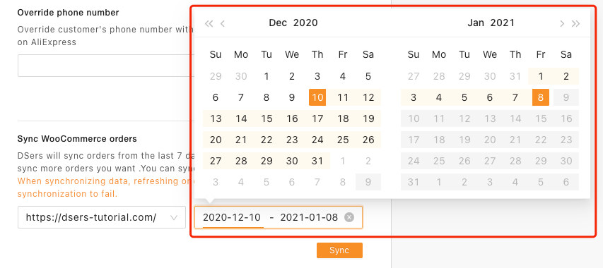 Synchronize WooCommerce orders to Woo DSers - Select Date Range - Woo DSers