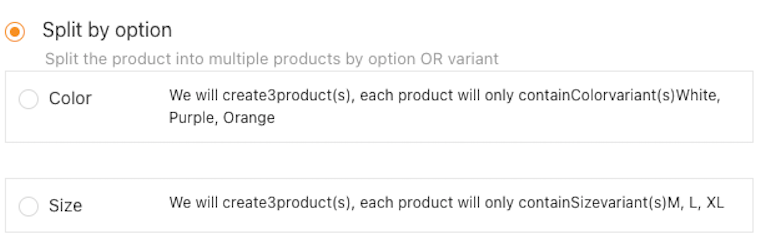 Split a product with Woo DSers - Split by Attributes - Woo DSers