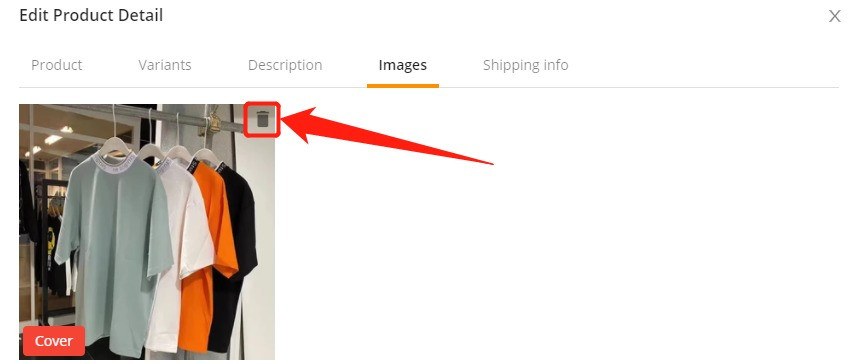 Edit a product on DSers with Wix DSers - click trash icon - Wix DSers