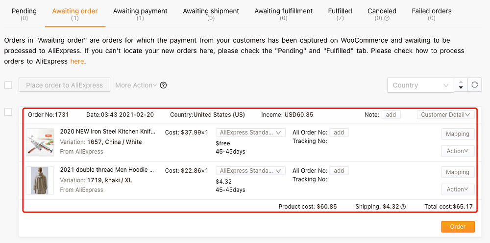 Cancel fulfillment of an order on Woo DSers - Orders moved to Awaiting order - Woo DSers