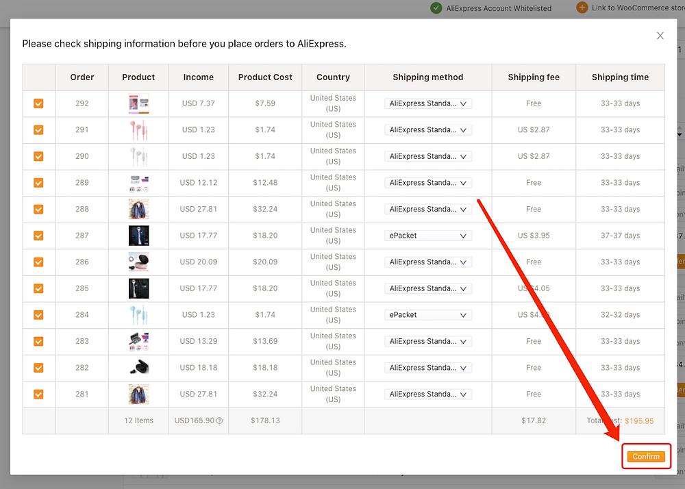 Fazer múltiplos pedidos do WooCommerce no AliExpress com Woo DSers - 5 - Woo DSers