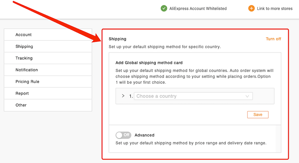 Set shipping method for all products with Woo DSers - Shipping setting - Woo DSers