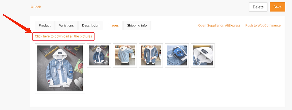 Edit a product on Woo DSers - Download all pictures - Woo DSers