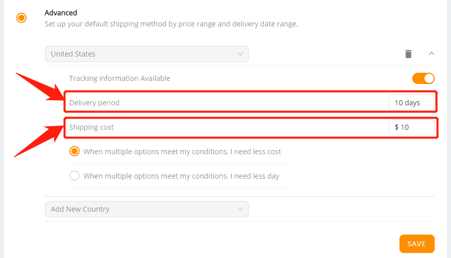 Set shipping method for all products with Wix DSers - select shipping period and cost - Wix DSers