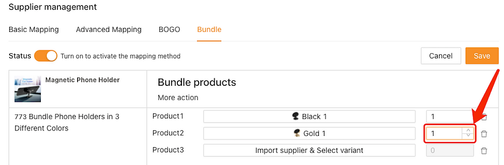 Create Bundles of products with Woo DSers - Set quantity of Gold Product - Woo DSers