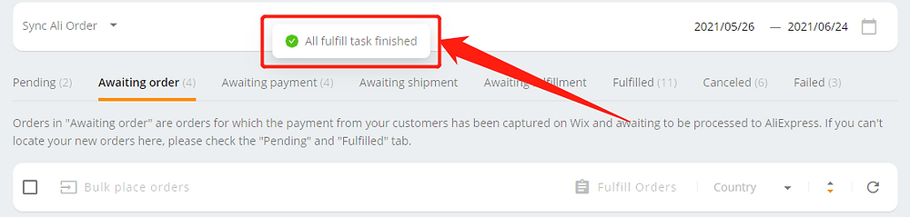 Place part of an order with Wix DSers - notification - Wix DSers