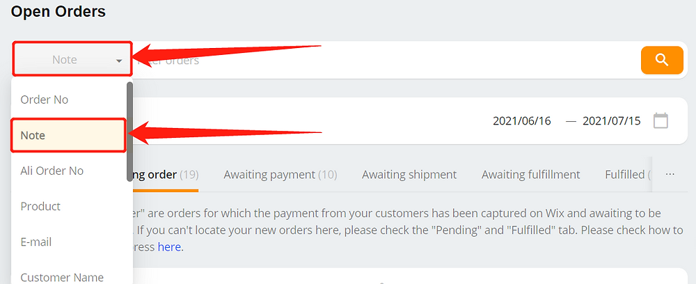 What is the note on the order for with Wix DSers - choose note in the list - Wix DSers