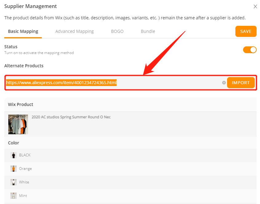 Connect AliExpress suppliers to your products with Wix DSers - paste the URL - Wix DSers