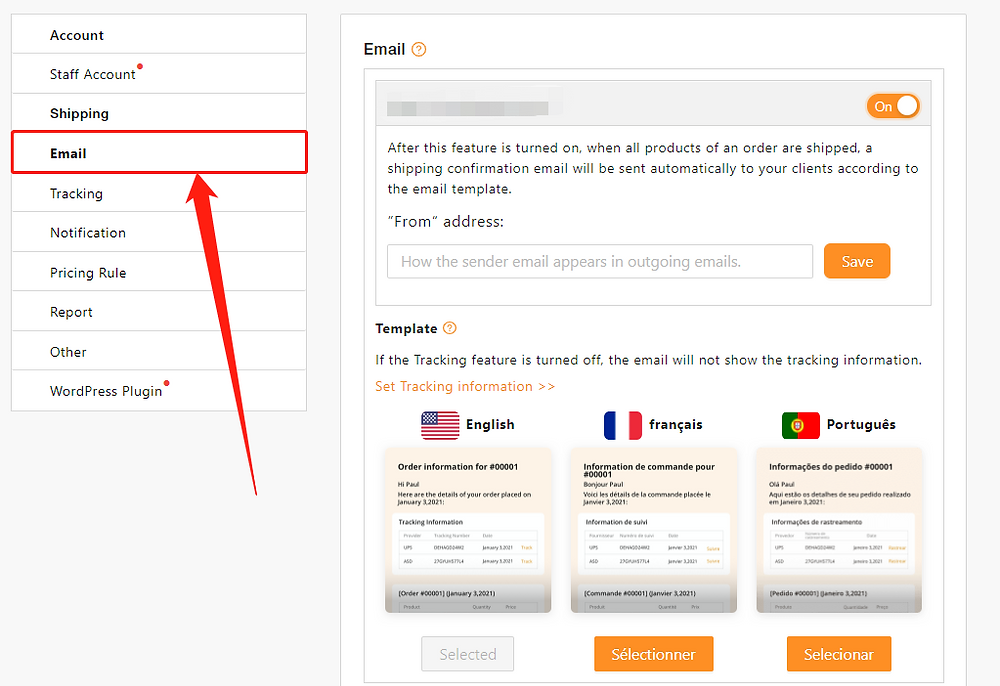 Set tracking for your orders with Woo DSers - Email Setting - Woo DSers