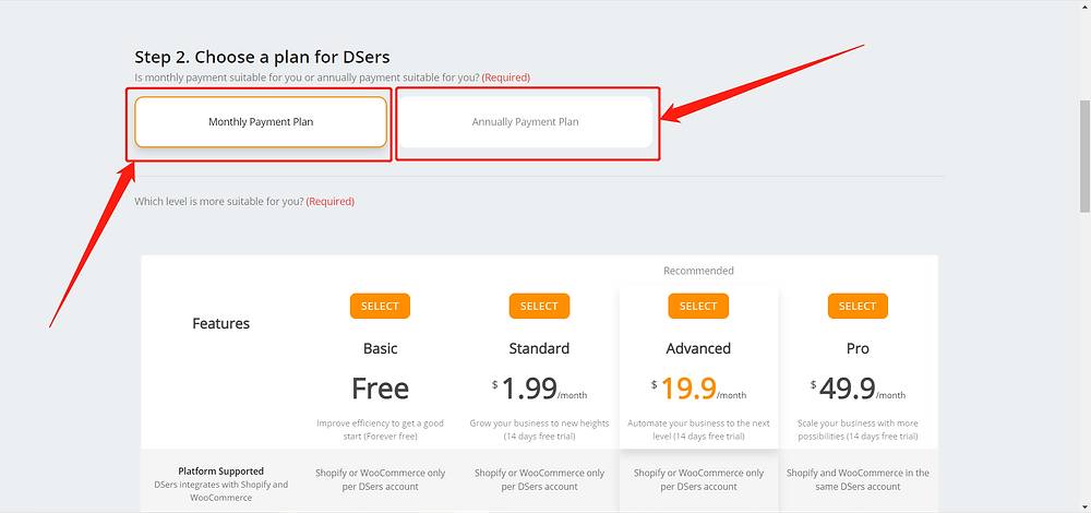 Link your Wix store with Wix DSers - choose subscription plan - Wix DSers
