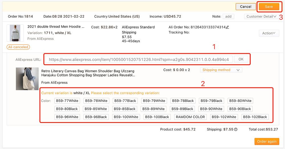 Re-order AliExpress canceled orders on Woo DSers - Choose variation - Woo DSers