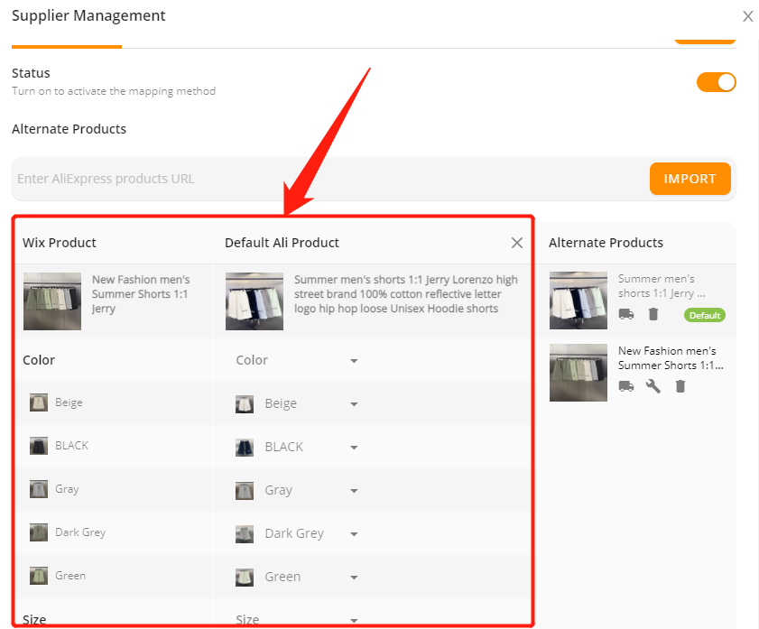 Change supplier of a product with Wix DSers - new default supplier - Wix DSers
