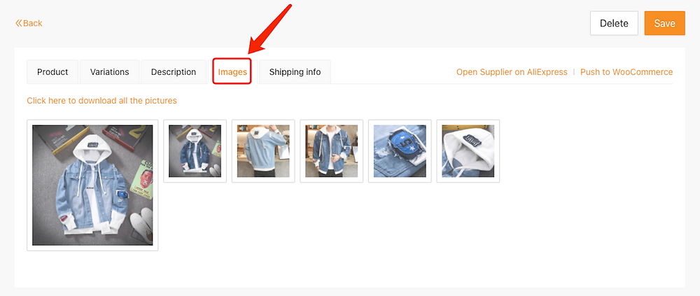 Edit a product on Woo DSers - Images tab - Woo DSers
