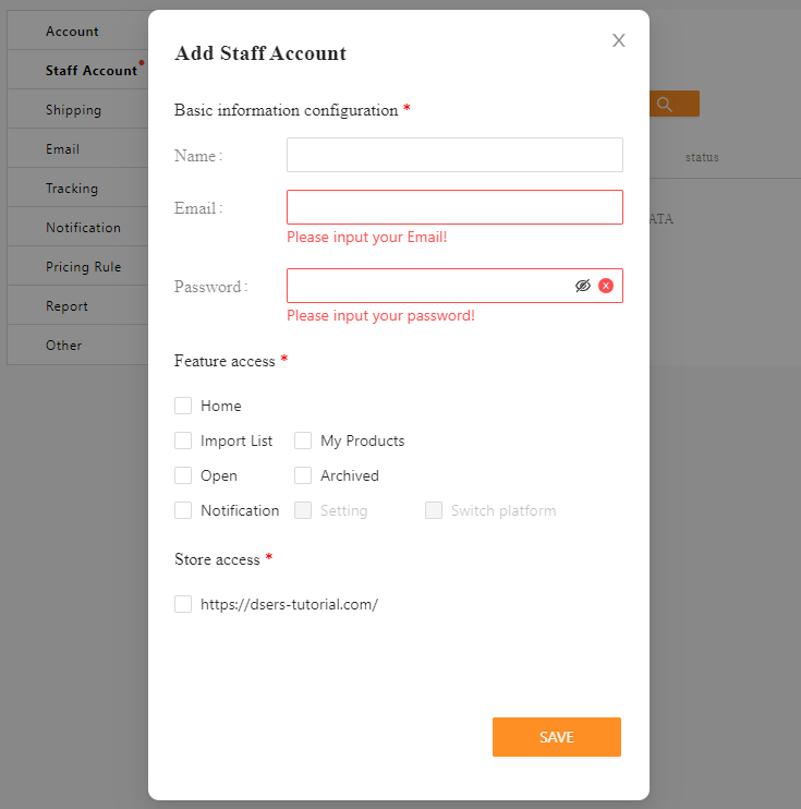 Add Staff Account to your Woo DSers - create staff account - DSers