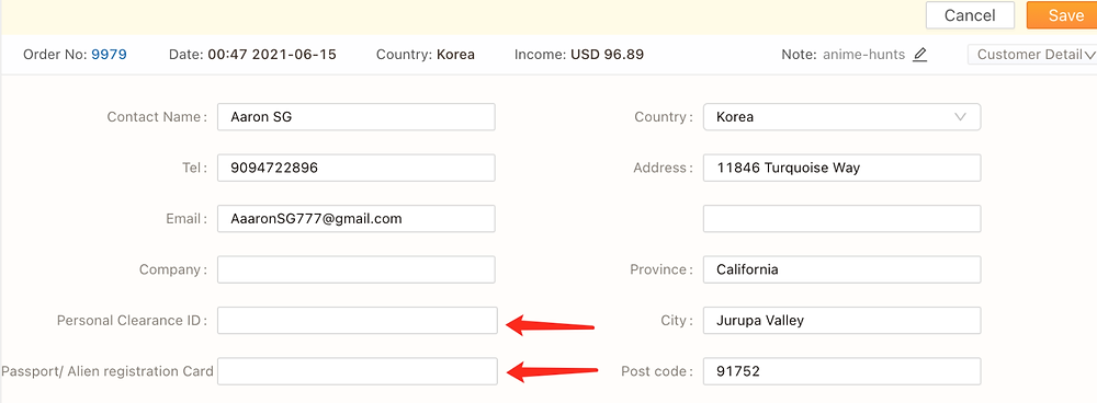 Orders to Korea specifications with Shopify DSers - added information - Shopify DSers