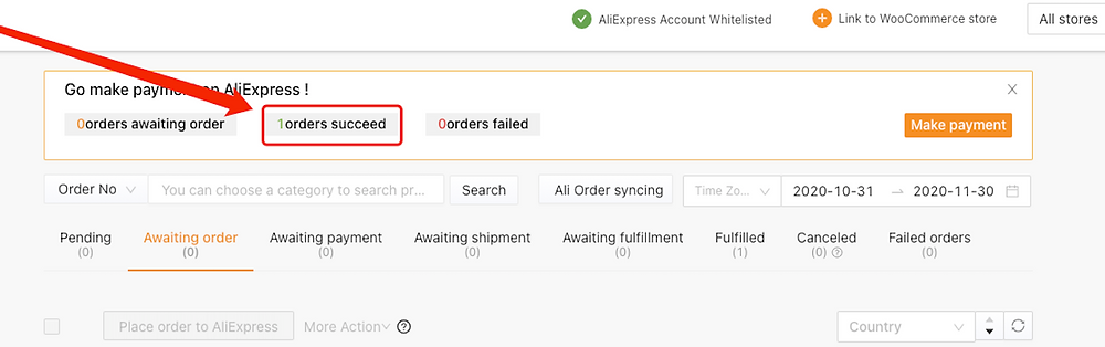 Place an order from WooCommerce to AliExpress with Woo DSers - Order Processing Orders Succeed - Woo DSers
