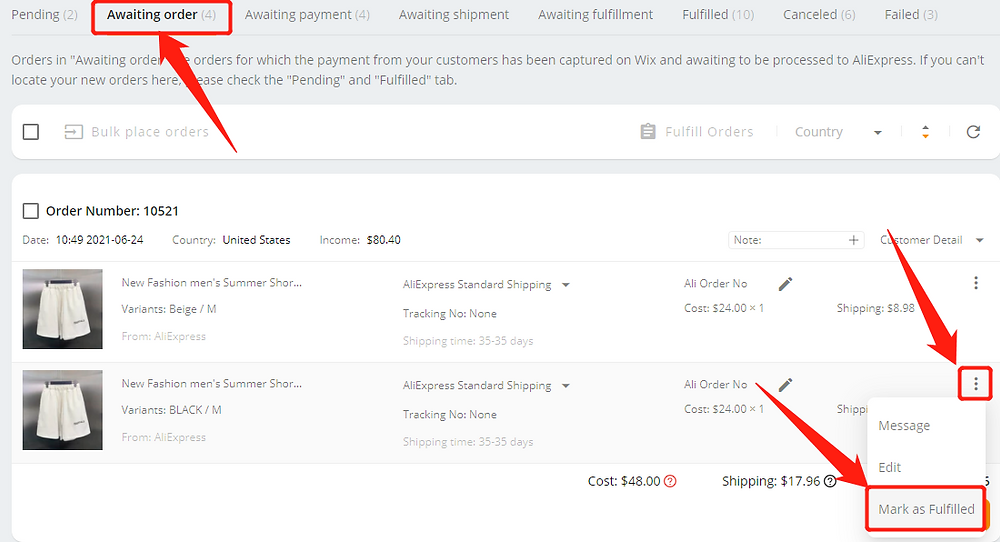 Fulfill orders manually on DSers - Awaiting order mark as fulfilled - Wix DSers