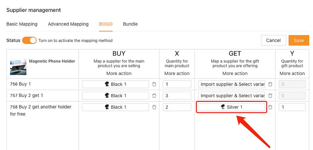 Create Buy One Get One offers with Woo DSers - Mapping of the free gift - Woo DSers