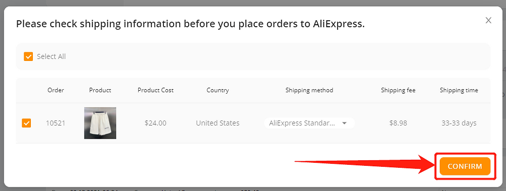 Place part of an order with Wix DSers - confirm - Wix DSers