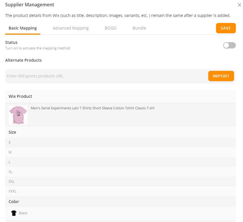 DSers My Products page - mapping page - Wix DSers