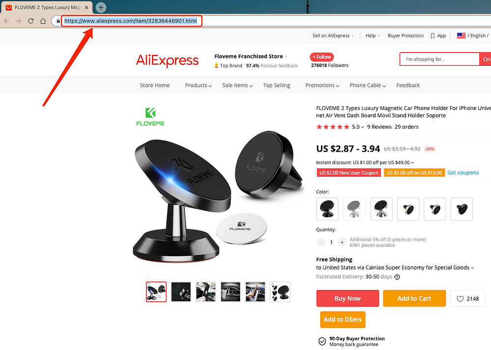 Create Buy One Get One offers with Woo DSers - Copy AliExpress URL - Woo DSers