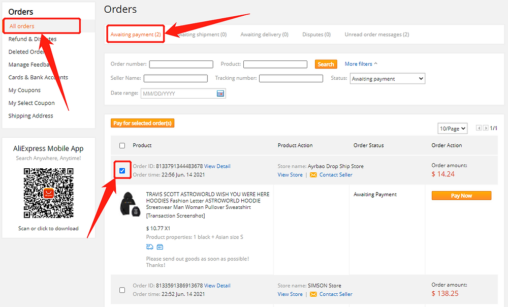 Pay an order on AliExpress with Wix DSers - Awaiting payment page - Wix DSers