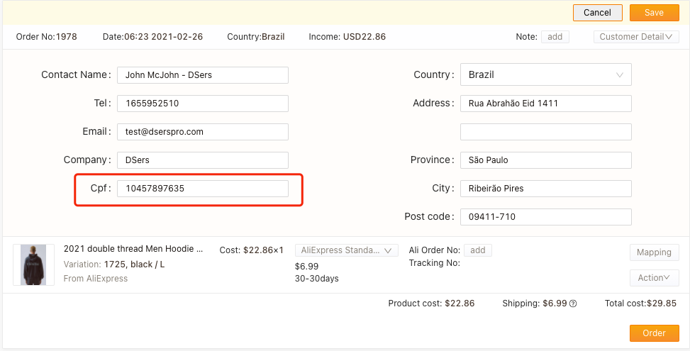 Orders to Brazil specifications with Woo DSers - CPF - Woo DSers