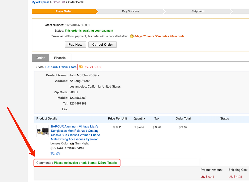 Specific message to an AliExpress supplier with Woo DSers - Order Comments - Woo DSers