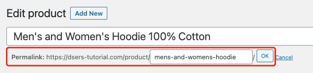 Edit a product on WooCommerce with Woo DSers - Personalize Permalink - Woo DSers