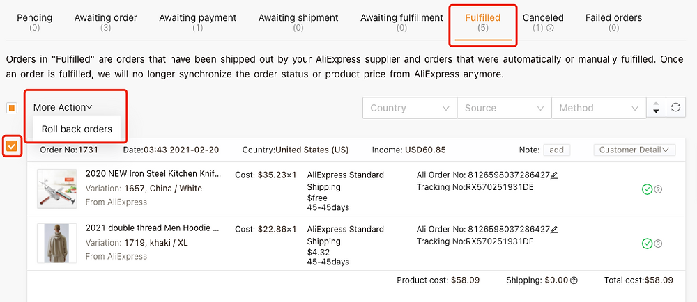 Re-order Awaiting fulfillment order on Woo DSers - Roll back orders - Woo DSers