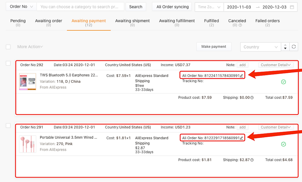 Fulfill multiple orders from start to finish with Woo DSers - Check AliExpress Orders numbers - Woo DSers