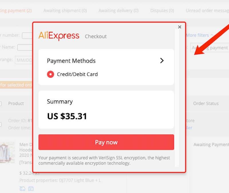 Pay an order on AliExpress with Woo DSers - Pay on AliExpress - Woo DSers