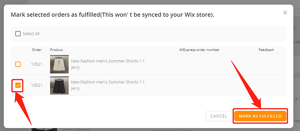 Fulfill orders manually on DSers - Select Mark as fulfilled - Wix DSers