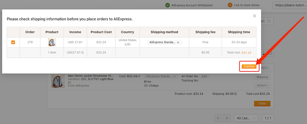 Place an order from WooCommerce to AliExpress with Woo DSers - Confirm Order - Woo DSers