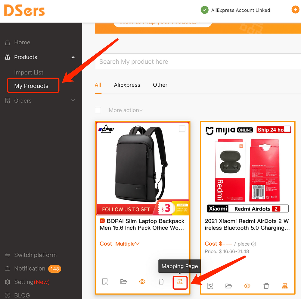 Migrate data from ShopMaster with Woo DSers - Mapping Page - Woo DSers