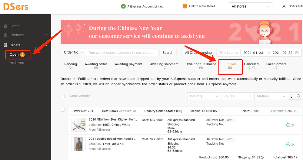 Cancel fulfillment of an order on Woo DSers - Fulfilled tab - Woo DSers