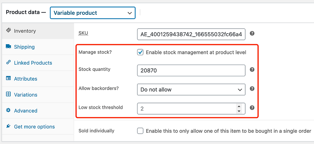 Edit a product on WooCommerce with Woo DSers - Inventory details - Woo DSers